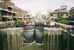 Limehouse - the lock gates from the Marina out to the River Thames